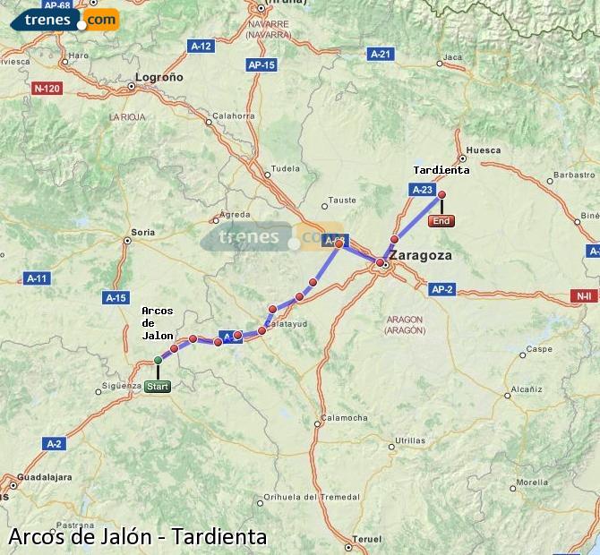 Enlarge map Trains Arcos de Jalón to Tardienta