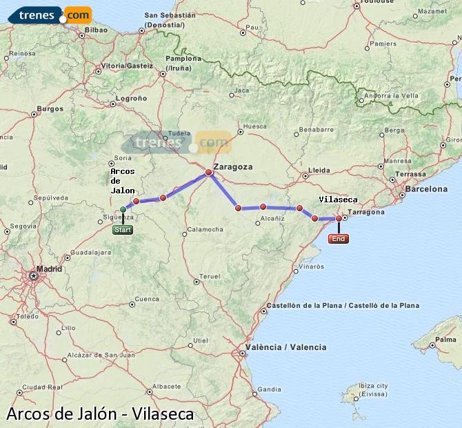 Enlarge map Trains Arcos de Jalón to Vilaseca