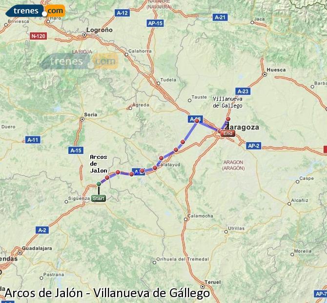 Ampliar mapa Trenes Arcos de Jalón Villanueva de Gállego