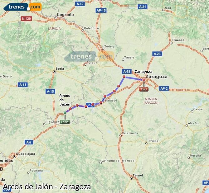 Karte vergrößern Züge Arcos de Jalón Zaragoza
