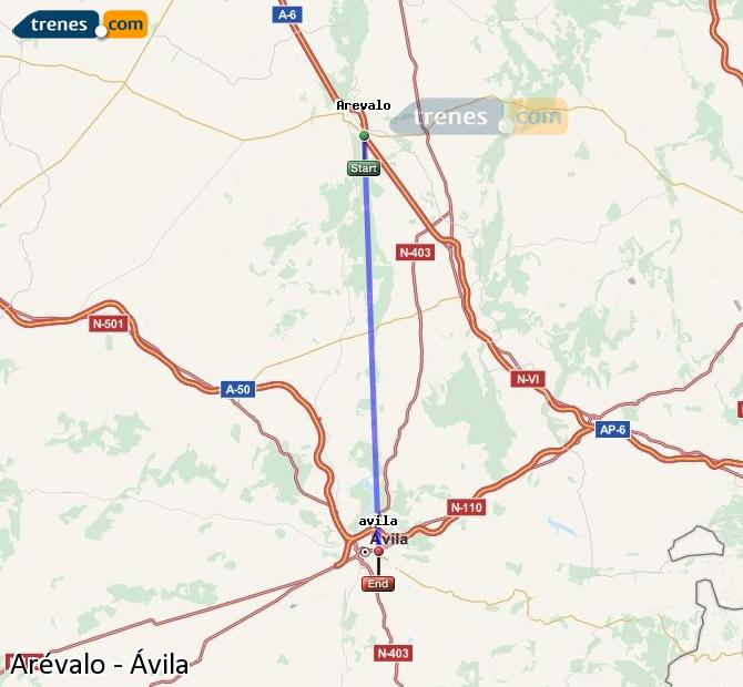 Enlarge map Trains Arévalo to Avila