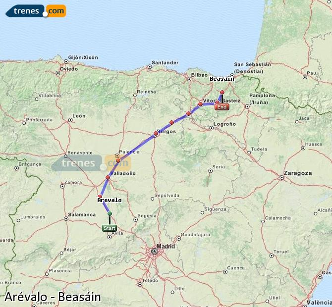 Karte vergrößern Züge Arévalo Beasáin