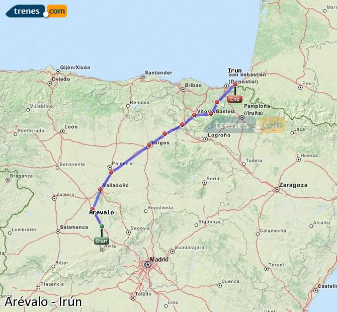 Enlarge map Trains Arévalo to Irun