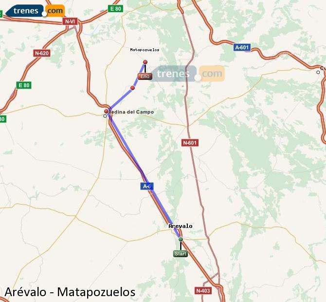 Ingrandisci la mappa Treni Arévalo Matapozuelos