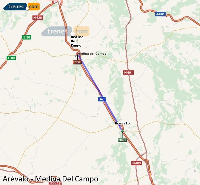 Ingrandisci la mappa Treni Arévalo Medina Del Campo