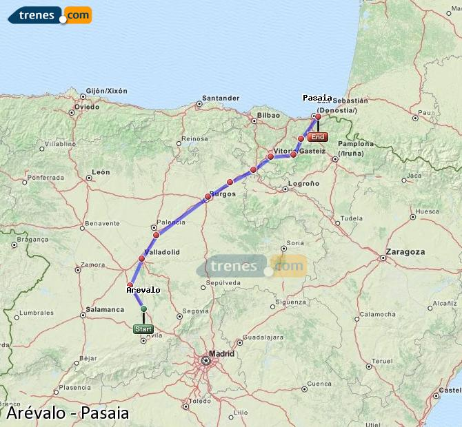 Enlarge map Trains Arévalo to Pasaia