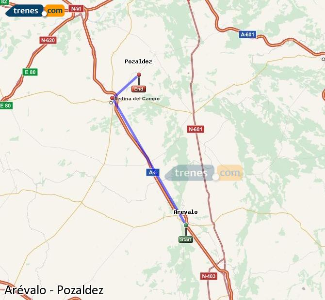 Ingrandisci la mappa Treni Arévalo Pozaldez