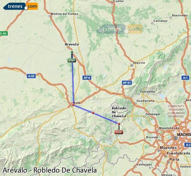 Enlarge map Trains Arévalo to Robledo De Chavela
