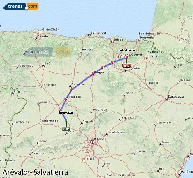Ingrandisci la mappa Treni Arévalo Salvatierra
