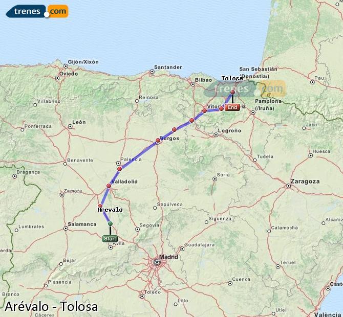 Karte vergrößern Züge Arévalo Tolosa