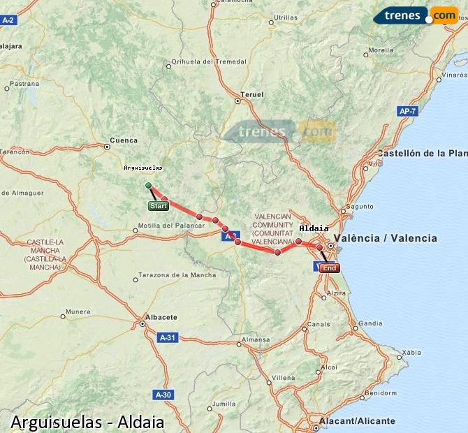 Enlarge map Trains Arguisuelas to Aldaia