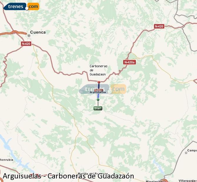 Enlarge map Trains Arguisuelas to Carboneras of Guadazaón