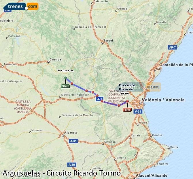 Enlarge map Trains Arguisuelas to Ricardo Tormo Circuit
