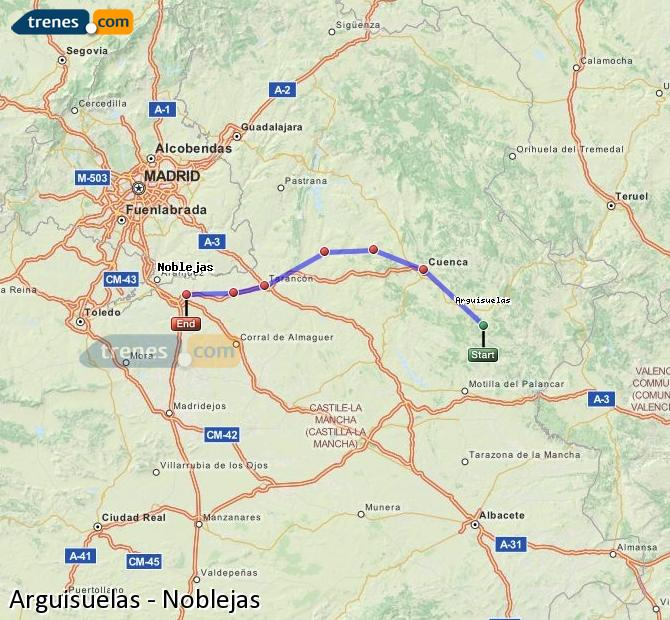 Enlarge map Trains Arguisuelas to Noblejas
