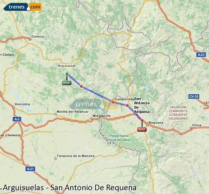 Ampliar mapa Trenes Arguisuelas San Antonio De Requena