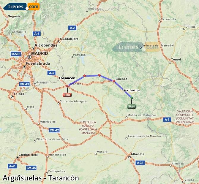 Enlarge map Trains Arguisuelas to Tarancon
