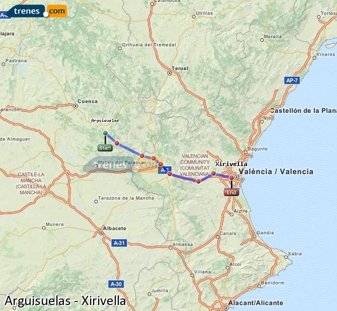 Enlarge map Trains Arguisuelas to Xirivella