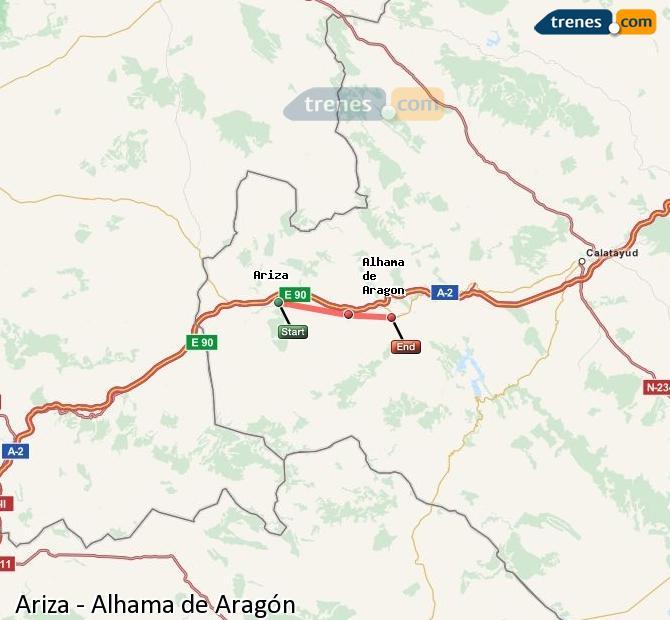 Ampliar mapa Comboios Ariza Alhama de Aragón
