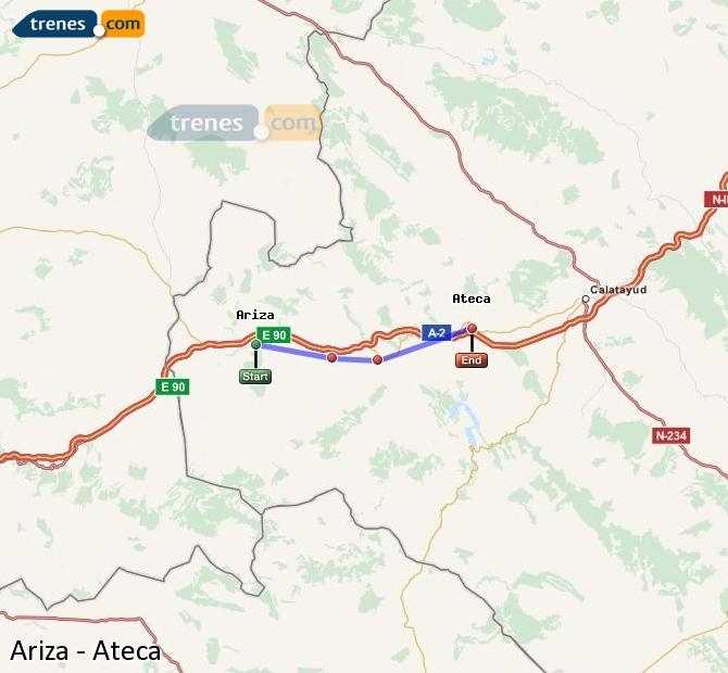 Karte vergrößern Züge Ariza Ateca