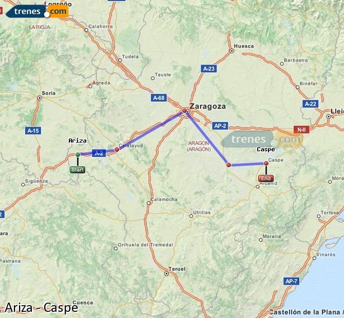 Ingrandisci la mappa Treni Ariza Caspe