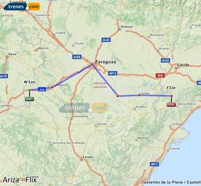 Karte vergrößern Züge Ariza Flix
