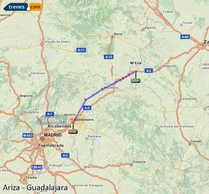 Ingrandisci la mappa Treni Ariza Guadalajara