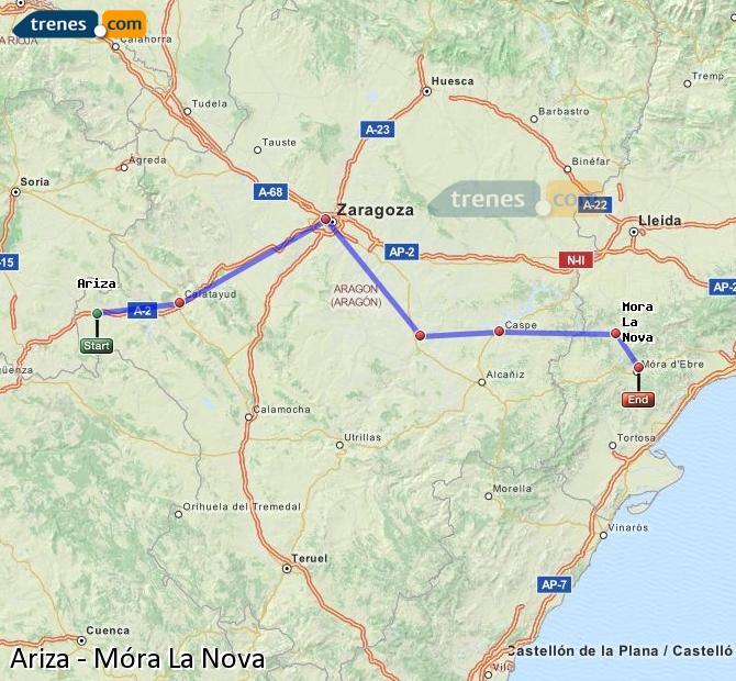 Karte vergrößern Züge Ariza Móra La Nova