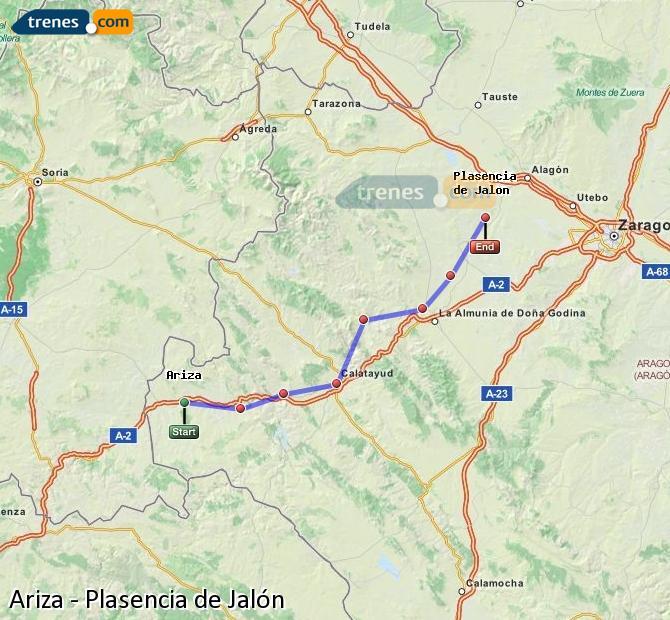 Ingrandisci la mappa Treni Ariza Plasencia de Jalón