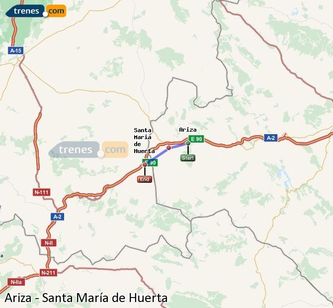 Ingrandisci la mappa Treni Ariza Santa María de Huerta