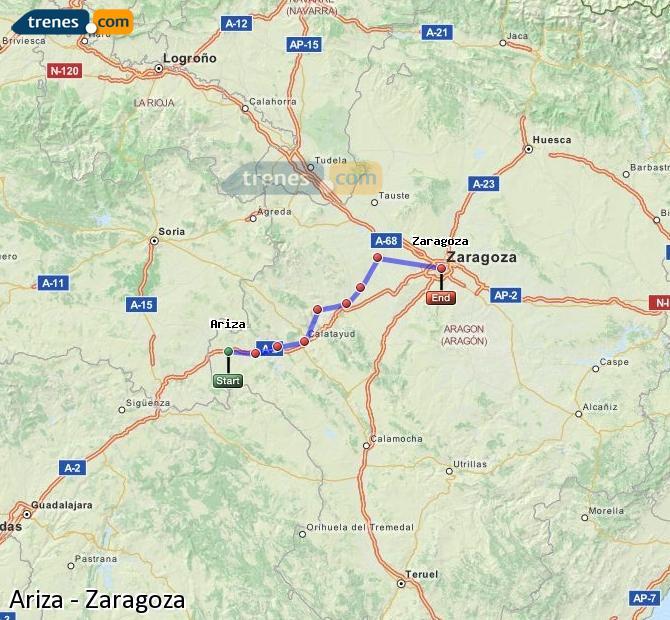 Enlarge map Trains Ariza to Zaragoza