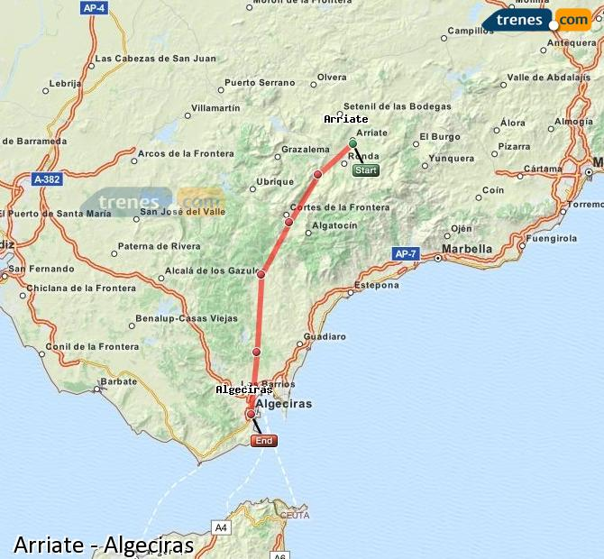 Enlarge map Trains Arriate to Algeciras