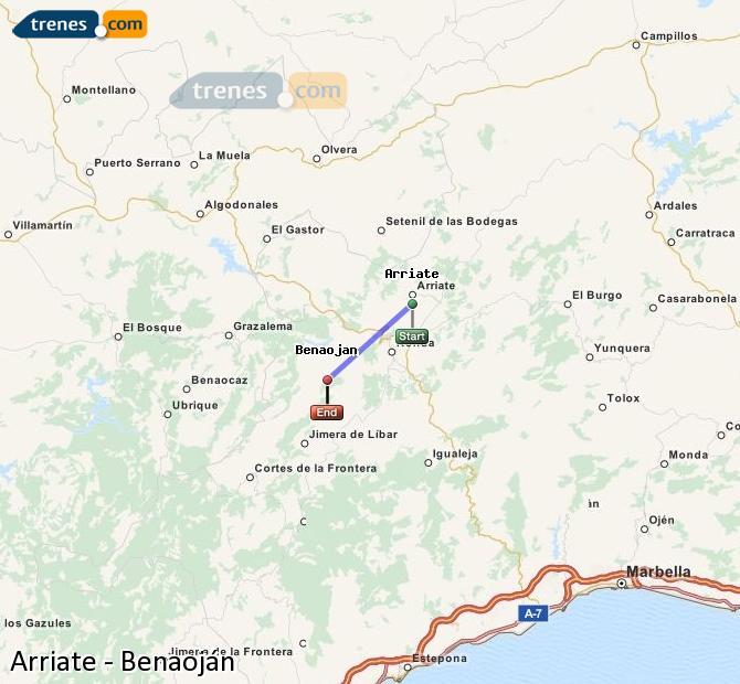 Agrandir la carte Trains Arriate Benaoján