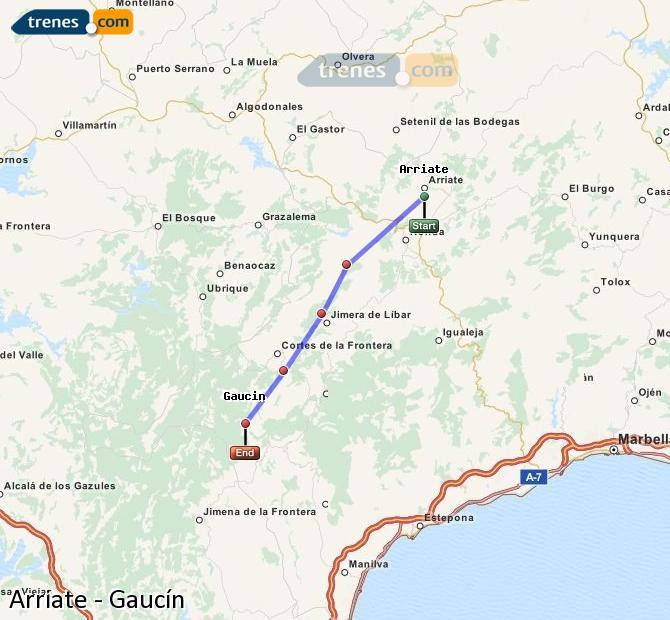 Ampliar mapa Trenes Arriate Gaucín