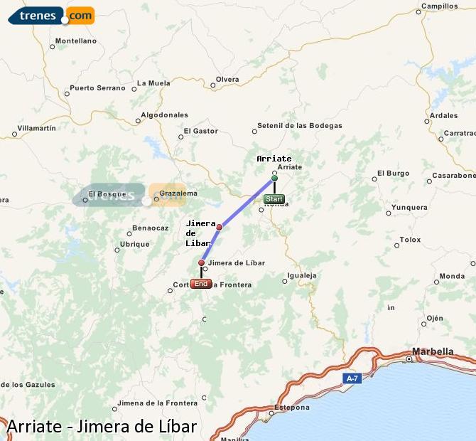 Ampliar mapa Trenes Arriate Jimera de Líbar