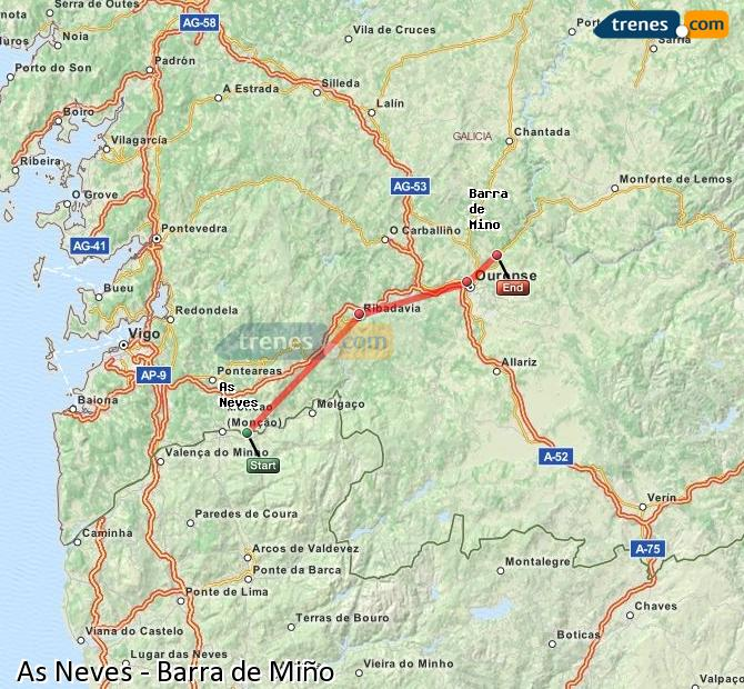 Ampliar mapa Comboios As Neves Barra de Miño
