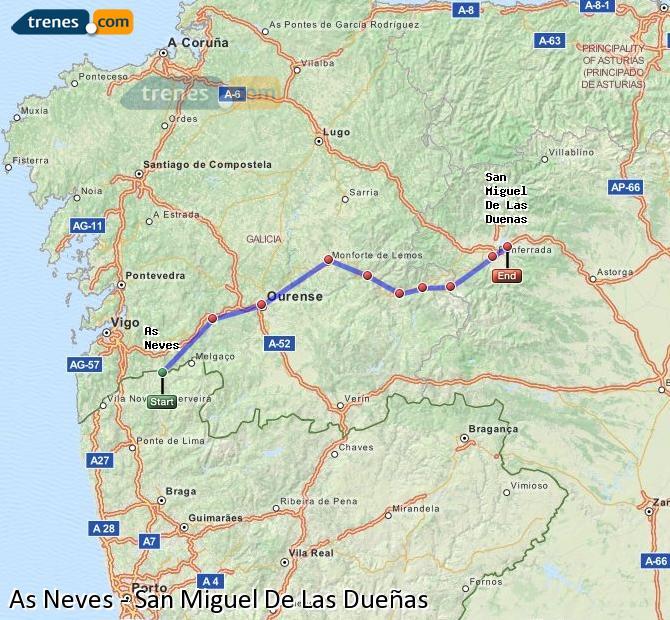 Karte vergrößern Züge As Neves San Miguel De Las Dueñas