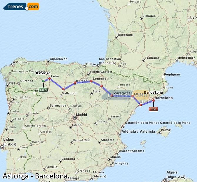 Karte vergrößern Züge Astorga Barcelona