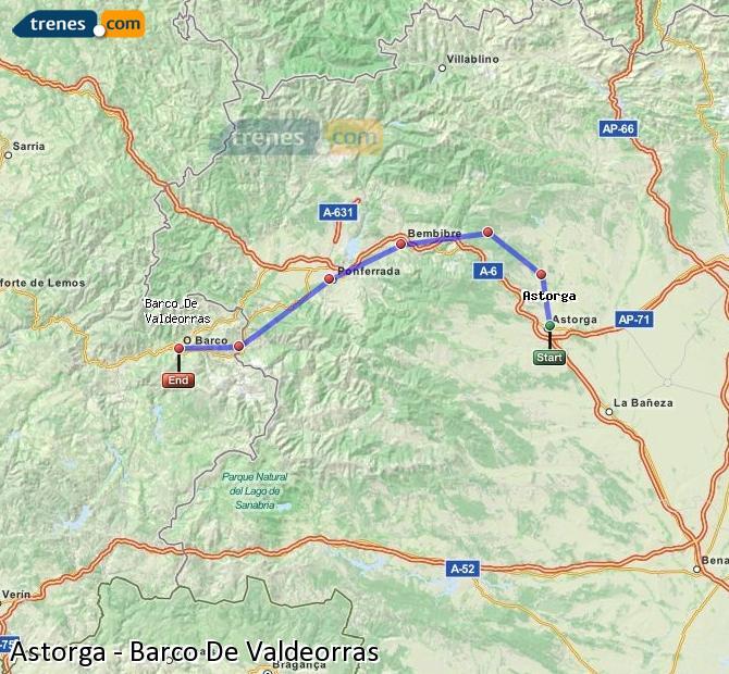 Karte vergrößern Züge Astorga Barco De Valdeorras