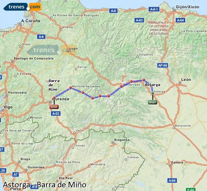 Ingrandisci la mappa Treni Astorga Barra de Miño