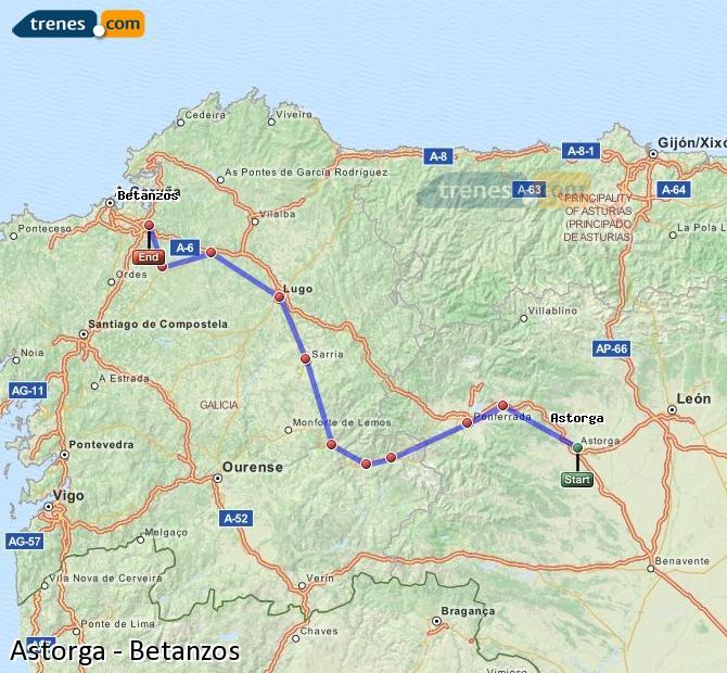Ampliar mapa Comboios Astorga Betanzos