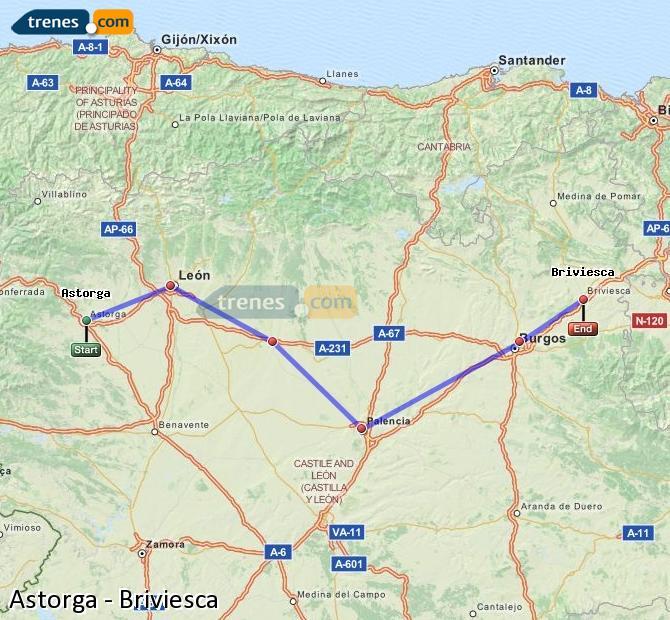 Ingrandisci la mappa Treni Astorga Briviesca