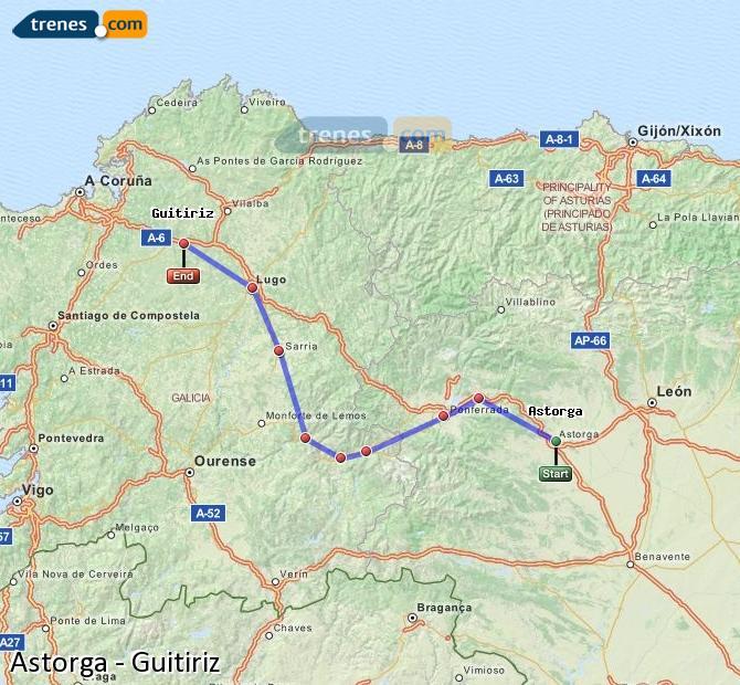 Ampliar mapa Trenes Astorga Guitiriz