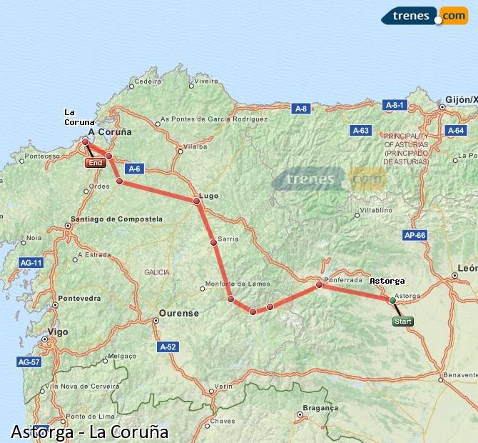 Ampliar mapa Trenes Astorga La Coruña