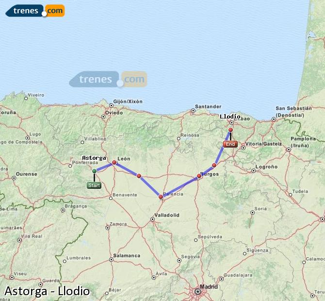 Enlarge map Trains Astorga to Llodio