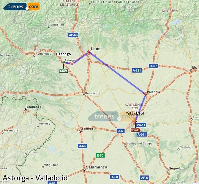 Karte vergrößern Züge Astorga Valladolid