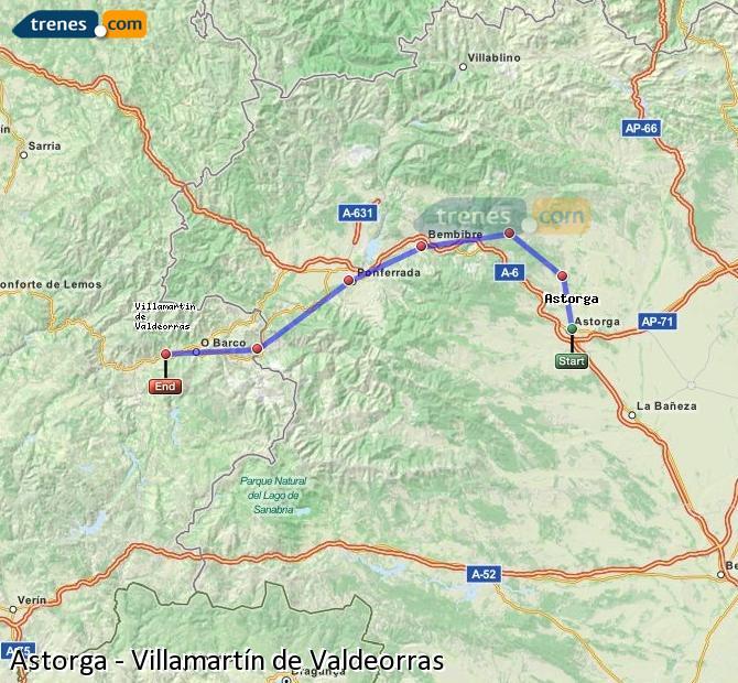 Karte vergrößern Züge Astorga Villamartín de Valdeorras