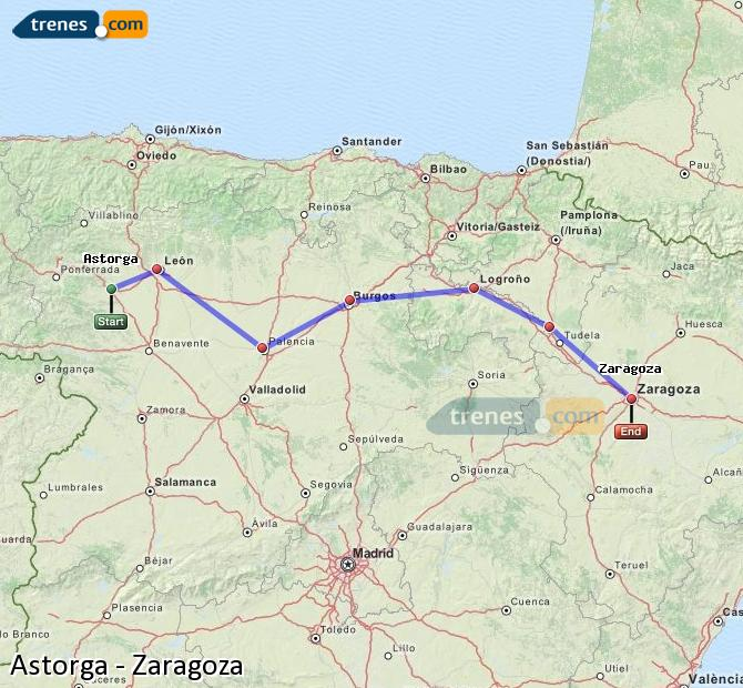 Ingrandisci la mappa Treni Astorga Zaragoza
