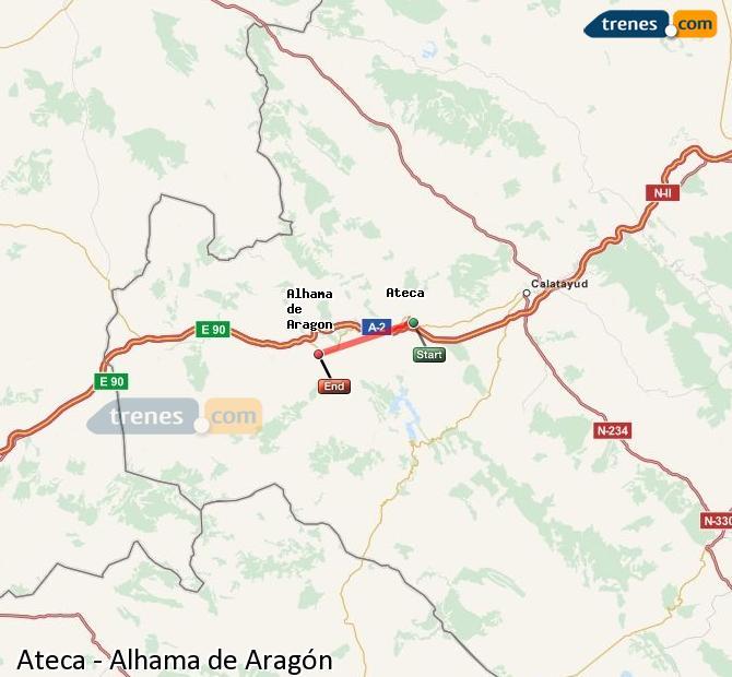 Ampliar mapa Comboios Ateca Alhama de Aragón