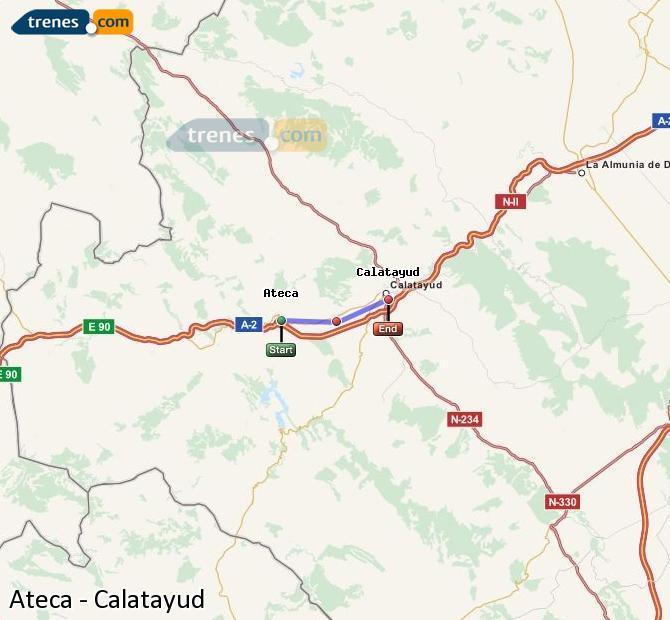 Agrandir la carte Trains Ateca Calatayud