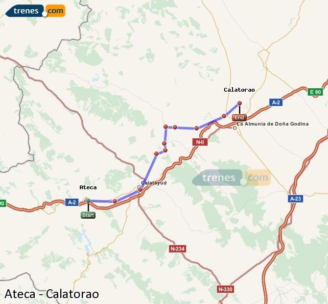 Ingrandisci la mappa Treni Ateca Calatorao
